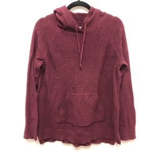 Sonoma Maroon Knit Waffle Front Hoodie L Pullover